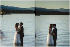Bride and groom romantic lake moment
