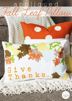 Appliqued Fall Leaf Pillow sewing tutorial at Positively Splendid