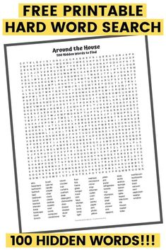This 100 word word search PDF is the epitome of a hard word search puzzle. Hidden within it are the names of 100 common items found around the house. Free Word Search Puzzles, Kids Word Search, Free Printable Word Searches, Free Printable Puzzles, Word Puzzles, Free Printables, Hard Words, 100 Words, Cool Words