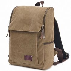 Canvas Backpack Laptop Daybag Wide Strap Soft Padded Bags School College Travel…