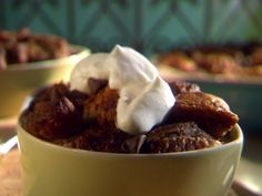 Double Chocolate Bread Pudding with Bourbon Whipped Cream recipe from Sunny Anderson via Food Network