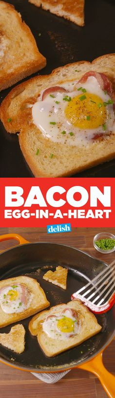 Bacon Egg-In-A-Heart toast could make anyone fall in love with you. Get the recipe on Delish.com.