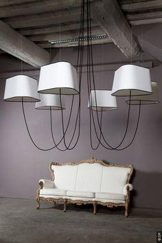 """Lampadaires Nuage Designheure"" – huge chandelier in black and white: eyecatcher for home | lighting . Beleuchtung . luminaires | Design: Hervé Langlais for autour d'un canapé |"