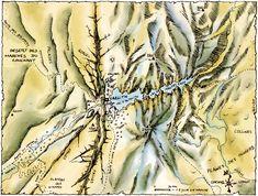 Laelith : Désert des Marches du Couchant (N-O), Plateau des Steppes (S-O), Plaines des Oliviers (S-E), Montagnes (N-E), Lac d'Altalith et Lac des Hautes-Eaux (Est).