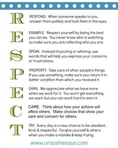 Night ~ Teach Them Some Respect! This is such a great Family Home Evening lesson and activity on RESPECT!This is such a great Family Home Evening lesson and activity on RESPECT! Family Rules, Home And Family, Parenting Advice, Kids And Parenting, Natural Parenting, Parenting Classes, Parenting Styles, Foster Parenting, Gentle Parenting