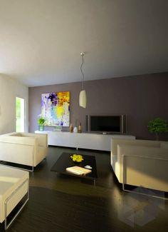 Wohnzimmer Impression aus einem Bien-Zenker Haus ➤ Auf der ___ Fertighaus.de ___ Webseite findest du eine große Auswahl an Häusern verschiedener Stile und von unterschiedlichen Anbietern. ➤ Mit einem Klick aufs Bild gelangst du zu unserer Häusersuche!   Einrichtung, Ausbau, Wohnzimmer, Living Room, Interior, wohnen, Sofa, Inspiration, Couch, helle Sessel, Ledersessel, weißes Leder, dunkler Boden