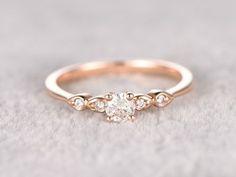 Engagement Rings : 5mm Round Moissanite Engagement Ring Diamond Wedding Ring 14k Rose Gold Milgrain