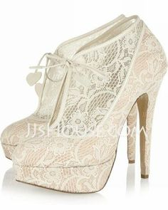 Wedding Shoes - $123.99 - Lace Stiletto Heel Closed Toe Platform Pumps Boots Wedding Shoes (047026584) http://jjshouse.com/Lace-Stiletto-Heel-Closed-Toe-Platform-Pumps-Boots-Wedding-Shoes-047026584-g26584