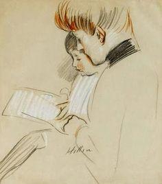 Helleu, Paul César (1859-1927) Madame Helleu faisant la lecture à l'un de ses enfants