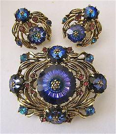 Vintage Weiss Rivoli Margarita Blue Prple Set Lot Clip Pin Brooch RARE | eBay