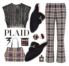"""Plaid#"" by sunny-chen-2 ❤ liked on Polyvore featuring Yves Saint Laurent, Tory Burch, MAC Cosmetics and Manic Panic NYC"