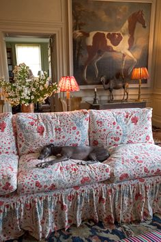 Panther the Whippet asleep on Soane Britain's Tuileries Sofa.