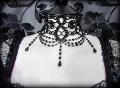 Black Beaded Victorian Gothic Fashion Choker Necklace Vampire Burlesque 6 | THE WILTED ROSE GARDEN on eBay // Worldwide Shipping Available