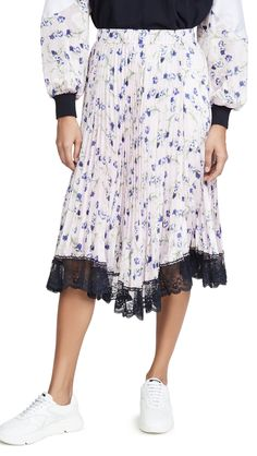 Clu Pleated Floral Skirt In Violet Floral Pleated Skirt, Lace Skirt, Clu, Stretch Satin, Skirts, Fabric, Pattern, How To Make, Shopping