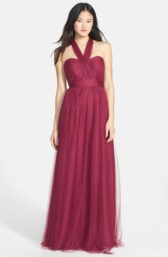 'Annabelle' Convertible Tulle Column Dress (Regular & Plus Size) marsala pantone color of the year 2015