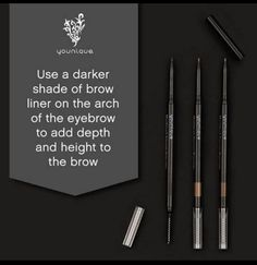 Love this eyebrow tip! The Younique brow pencil comes in three shades, light, medium and dark (there is also a matching brow gel available for each one). They are wind up so no need for a sharpener and they are double ended with a brush on one end.
