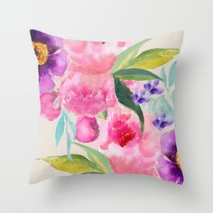 Home Decor Cushion Cover Rose Flower Print Throw Pillow For Sofa Pillow Case Floral Throws, Colorful Pillows, Floral Throw Pillows, Decorative Pillows, Floral Cushions, White Throw Pillows, Sofa Pillows, Hand Painted Dress, Blue Throws