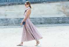 Pastel lilac strapless lace dress & printed scarf with flats | street style #fashion