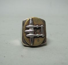 WWII P-38 FIGHTER PLANE PILOT RING VINTAGE MEXICAN BIKER RING MADE ALPACA SILVER