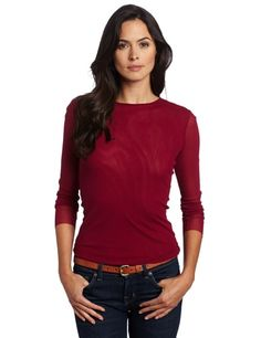 Only Hearts Women's Tulle Long Sleeve Crew Neck Top, Magenta, Petite/Small Only Hearts http://www.amazon.com/dp/B0088B1XG8/ref=cm_sw_r_pi_dp_Q0.Aub017JCD2