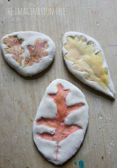 Make coloured leaf impressions in salt dough to make Autumn keepsakes! Fun for kids of all ages