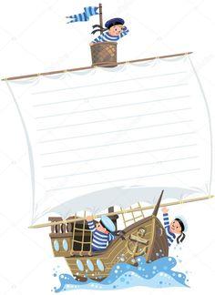 Fondo de plantilla con la bandera en la forma de una vela de un velero de madera con un equipo de chicos jolly-marineros en chalecos y gorros marinero Arabic Love Quotes, Cricut, Scrapbook, Invitations, Drawings, Illustration, Happy, Advent, Sailors