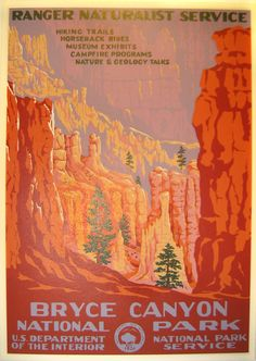 Bryce Canyon National Park Vintage Poster (Ranger Naturalist Service Series) in the Discover Your Northwest Online Store Bryce Canyon, Canyon Utah, Grand Canyon, Canyon Park, Vintage National Park Posters, Lost Poster, Voyage Usa, Wpa Posters, Pub Vintage