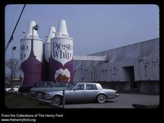 These giant Presto Whip cans were located in Dearborn on Telegraph just south of Michigan Avenue, where the La Fontaine dealerships currently are. They were removed in Dearborn Michigan, Detroit Michigan, Detroit History, Metro Detroit, Henry Ford, Good Ole, Vintage Advertisements, American History, Childhood Memories