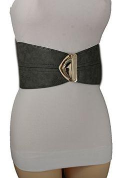 Trendy Fashion Jewelry Women Fashion Elastic Corset Belt Hip Waist Wide Faux Leather S M Gray
