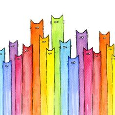 Cartoon Cat Painting - Cat Rainbow Watercolor Pattern by Olga Shvartsur Watercolor Pattern, Watercolor Cards, Watercolor Paintings, Colorful Paintings, Watercolour, Animal Paintings, Pattern Painting, Kids Watercolor, Painting Canvas