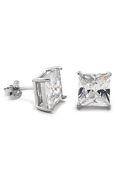 King+Ice+Princess+Cut+CZ+.925+Sterling+Silver+Earrings