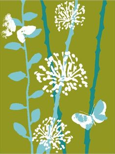Retro Flowers - Green and Blue - Cross Stitch Pattern - from https://www.etsy.com/shop/AverlyPatterns