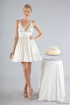 nicole miller bridal fall 2013 sleeveless short wedding dress straps - a little too plain on top but i love the bottom