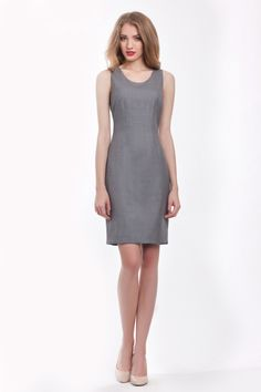 Szara sukienka, cool wool - MonikaKaminska - Sukienki koktajlowe