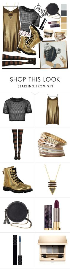 """gold party look"" by crimsonteardrop ❤ liked on Polyvore featuring Topshop, River Island, Miss Selfridge, Gotta Flurt, NAKAMOL, T-shirt & Jeans, Urban Decay, Gucci and Clarins"