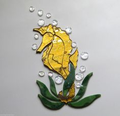 SEAHORSE Precut Stained Glass Art Kit Mosaic Inlay Tile Sea life Seascape Gold mirror.  Many original designs selling on ebay.