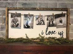 I love us photo holder farmhouse sign rustic sign framed