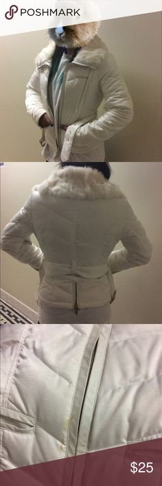 Bebe Fur Trim Coat White Bebe belted coat with white fur trim. In good condition aside from a few make up marks. A trip to the cleaners should leave it looking brand new. **Price reflects condition. 🚫low ball offers 🚫trades 🚫extra pictures (I take pics then store away in a airtight sealed bag till purchased.) bebe Jackets & Coats Puffers