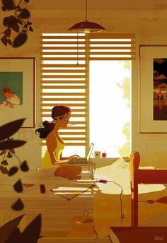Pascal Campion「The writer」 Art Nouveau, Pascal Campion, Color Script, Love Illustration, Building Illustration, American Artists, Illustrations Posters, Fantasy Art, Character Design