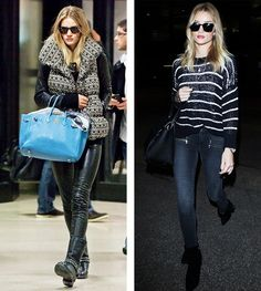 Rosie Huntington-Whiteley's airport style in 2011 vs today