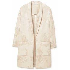 Linen-blend jacquard blazer ($180) ❤ liked on Polyvore featuring outerwear, jackets, blazers, blazer jacket, long sleeve blazer, lapel jacket, pink blazer and jacquard jacket