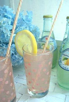 pink polka dots on glasses: perfect for greyhound cocktails