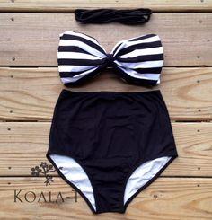 Black & White Bow Bandeau Top Black High Waist by KoalaTFashion, $39.99
