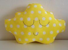 CLOUD CUSHION Cute Bright Yellow White Polka Dots