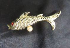 Vintage Brooch Pin Gold Rhinestone Fish Koi Pearl Ruby Garnet Red Animal Pisces