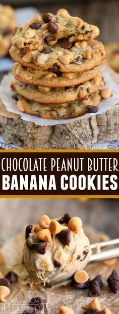 How to make these peanut butter banana chocolate chip cookies? Got ripe bananas? These easy Peanut Butter Banana Chocolate Chip Cookies are WAY more fun than making banana bread and so delicious too! Super soft and absolutely amazing! // Mom On Timeout Peanut Butter Banana Cookies, Banana Chocolate Chip Cookies, Banana Bread Cookies, Healthy Banana Cookies, Ripe Banana Recipes Healthy, Cookies With Bananas, Recipes For Overripe Bananas, Easy Banana Desserts, Recipes With Bananas