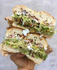 Avocado Bagel Sandwich recipe by Carina   The Feedfeed #avocado #bagelsandwich #lunchrecipes Think Food, I Love Food, Good Food, Yummy Food, Yummy Lunch, Tasty, Vegetarian Recipes, Healthy Recipes, Vegan Sandwich Recipes