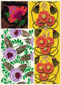 """Pochoir (hand coloured) lithograph (plate 18) by EA Seguy, 1929. From """"Suggestions pour Etoffes et Tapis"""" (Suggestions for Stuffs and Carpets) portfolio. Ch. Massin & Cie, Paris"""