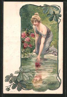 Alte Ansichtskarte: Lithographie Gesicht, Mädchen erblickt ihr Antlitz im Wasser, Allegorie, Jugendstil