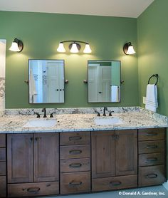 A soothing green hue completes this bathroom of The Butler Ridge #1320-D. http://www.dongardner.com/house-plan/1320-D/the-butler-ridge. #Bathroom #HomePlan #DreamHouse